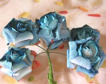 Turquoise Crepe Paper Flowers 30mm White Blue 1 1/4 Inch Mulberry Flower Floral Pick