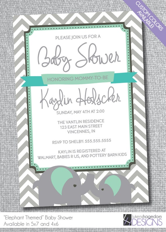 elephant themed baby shower invitation custom colors chevron