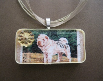 Handcrafted Vintage Russian Postage Stamp Sweet Sharpei Dog Pendant
