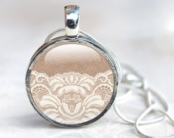 Lace Jewellery -  Lace necklace - Lace pendant - photo jewellery -  photo pendant - Glass Pendant (lace 4)