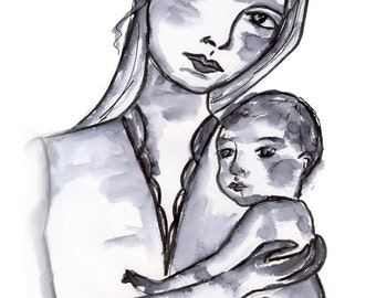 Custom fine art original mother and child drawing notecards inspiration thank you girl cards