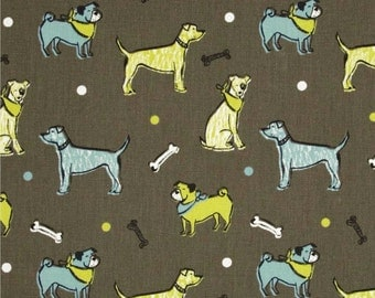 Dog Fabric by the Yard blue green brown natural fuzzy buddies macon mantis Premier Prints upholstery Home Decor - 1 yard or more -SHIPSFAST