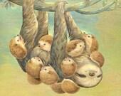 "Art Print - ""Sloth Covered With Hedgehogs"" - 8x10 hedgehog illustration, sloth illustration"