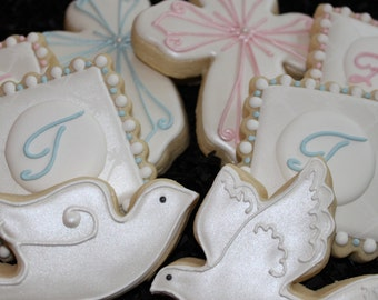 Christening Cookies, Baptism Cookies, Custom Cookies, Religious Cookies, Baby Shower Cookies, Wedding Cookies, Cross Doves, Monogram cookies