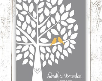 Guest Book Tree - Wedding Guest Book Alternative for 75 Guests in Yellow and Grey