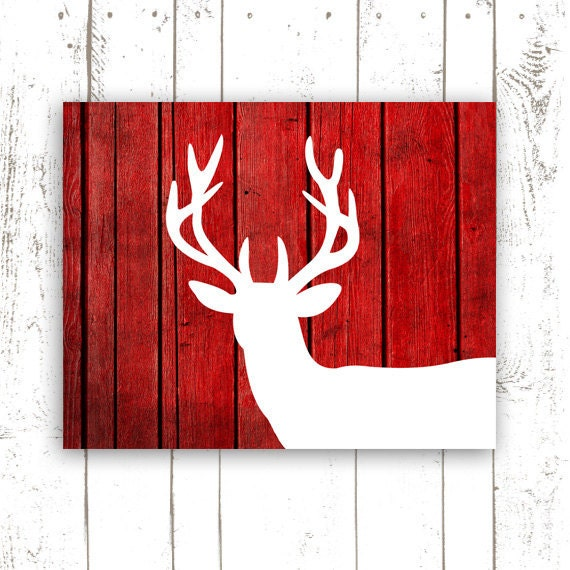 deer print rustic faux wood print on paper by