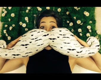 """Big shaped handmade moustache pillow / cushion. Home decor. Movember. Mustache print. """"Shaved"""" to perfection."""