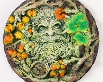 Green Man Plaque 'Old Man Of The Woods' Summer