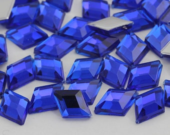 10x7mm Dark Sapphire NAB01 Flat Back Diamond Loose Acrylic Jewels High Quality Pro Grade - 100 Pieces