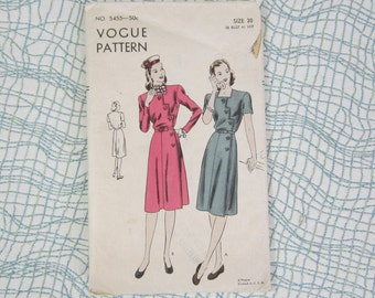 1940's Vogue Dress Pattern 5455
