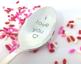 Engraved spoon, I love you spoon, handstamped spoon, coffee spoon, anniversary gift for her