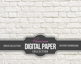 Digital Photography Backdrop Paper - Digital Brick Background Wallpaper - White Brick Background Paper High Res - Printable INSTANT DOWNLOAD