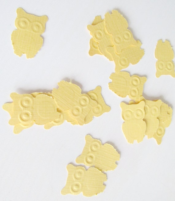 Owl Confetti in yellow - Fun Baby Shower Decoration for Owl Themed Showers, Zoo Parties, owl shower, owl baby shower, gender neutral shower