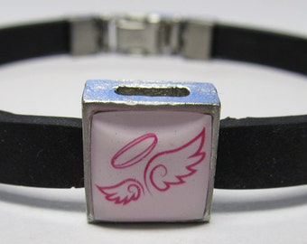 Pink Protection Angel Wing And Halo Link With Choice Of Colored Band Charm Bracelet