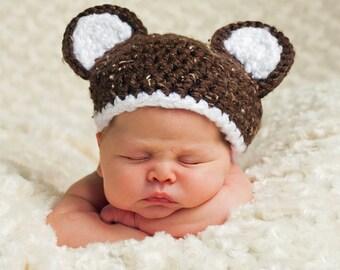 Crochet Baby Bear Hat w/ Optional Bow in newborn, 0-3 m, 3-6 m, 6-12 m