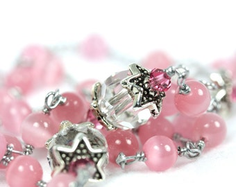Pink Cat's Eye and crystal Rosary, Handmade Pink Catholic Rosary with Pink and Swarovski crystal, Free US Shipping, Rosaries for her
