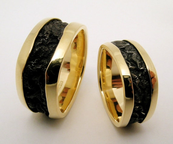 Hand Made and Hammer Forged Laminated 18k yellow gold and Reticulated Sterling Silver  Ladies Wedding Band