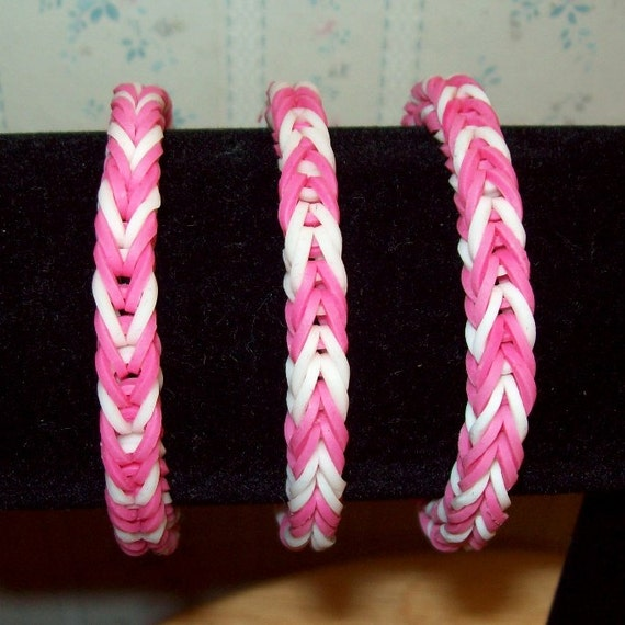 Rainbow Loom Rubber Band Bracelet Fancy Fishtail Pink And