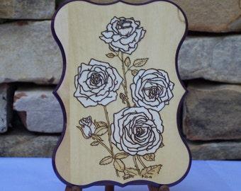 White Rose Woodburning Pyrography