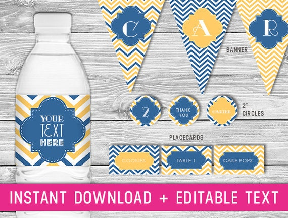 Printable Party Kit (navy and yellow wedding decor baby boy birthday package chevron decorations birthday chevron baby shower decor)