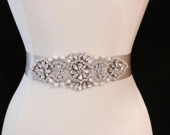 Bridal Sash - Wedding Dress Sash Belt - Taupe Rhinestone and Pearl Wedding Sash - Taupe Rhinestone Bridal Sash