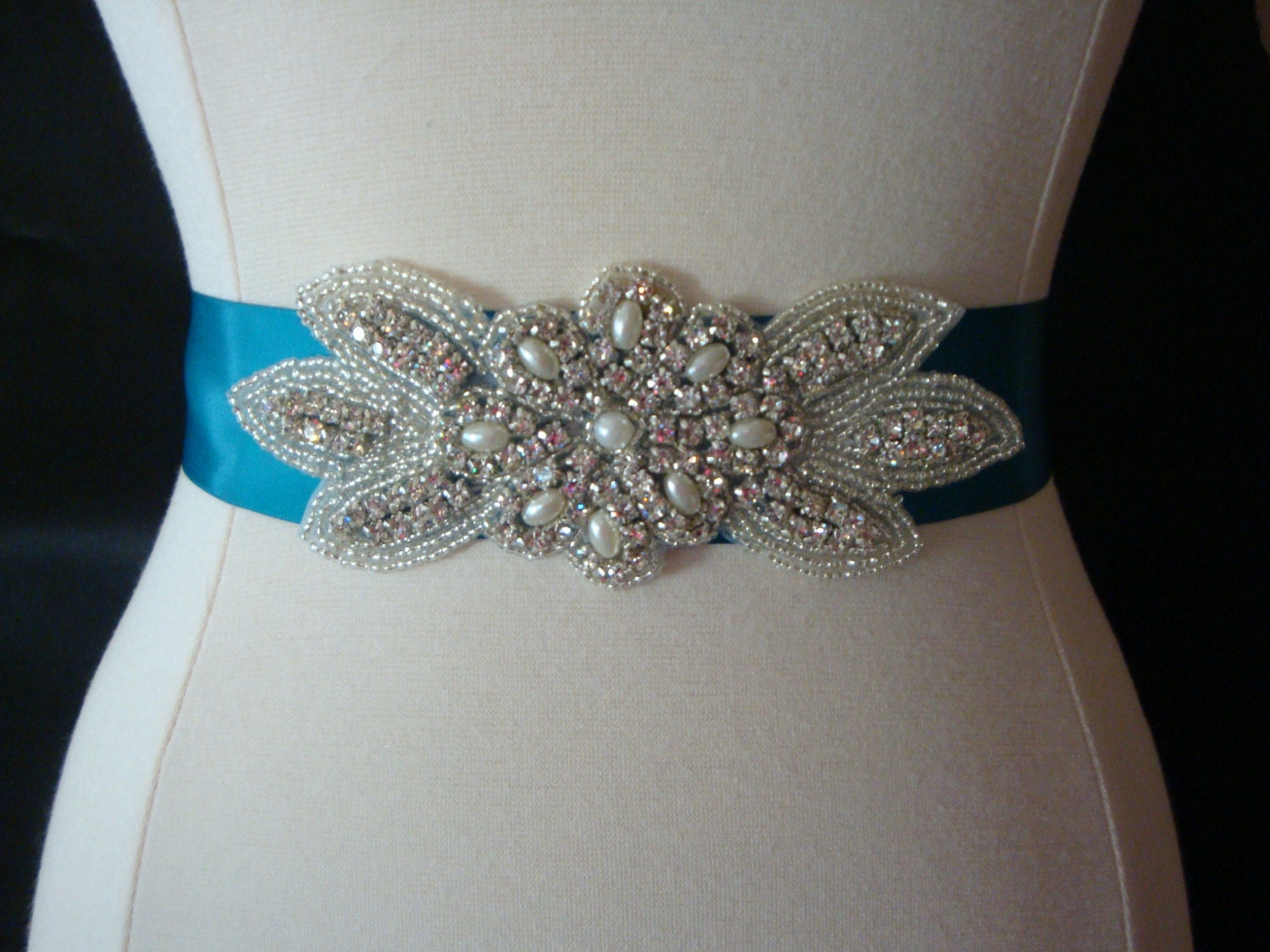 Bridal sash wedding dress sash belt pearl and rhinestone for Wedding dress sash with rhinestones