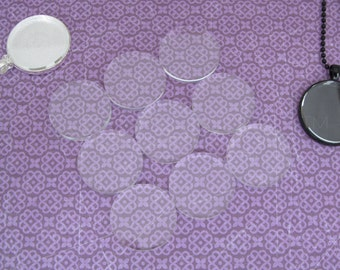 """100 - 30mm Round Glass Tiles - Flat on Both Sides - 1 3/16"""" Clear Tiles - 1 3/16 Inch - 30 mm Diameter Tiles - 4mm Thick"""