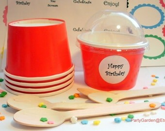 12 Bright Red Ice Cream Cups - Medium 12 oz