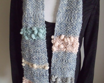 the blue scarf with polka dot courses (150/15 cm)