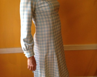 Vintage Size Large Blue and White Long Sleeved Dress