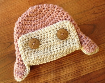 Crocheted Baby Girl Aviator Earflap Hat ~ Dusty Rose Pink & Oatmeal Ear Flap Hat ~ Baby Shower Gift ~ Newborn to 5T ~ MADE TO ORDER