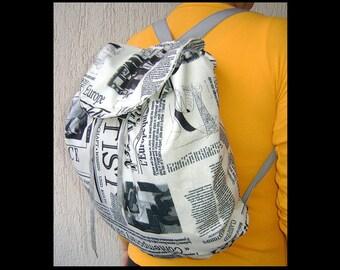 Newspaper Black and White Backpack