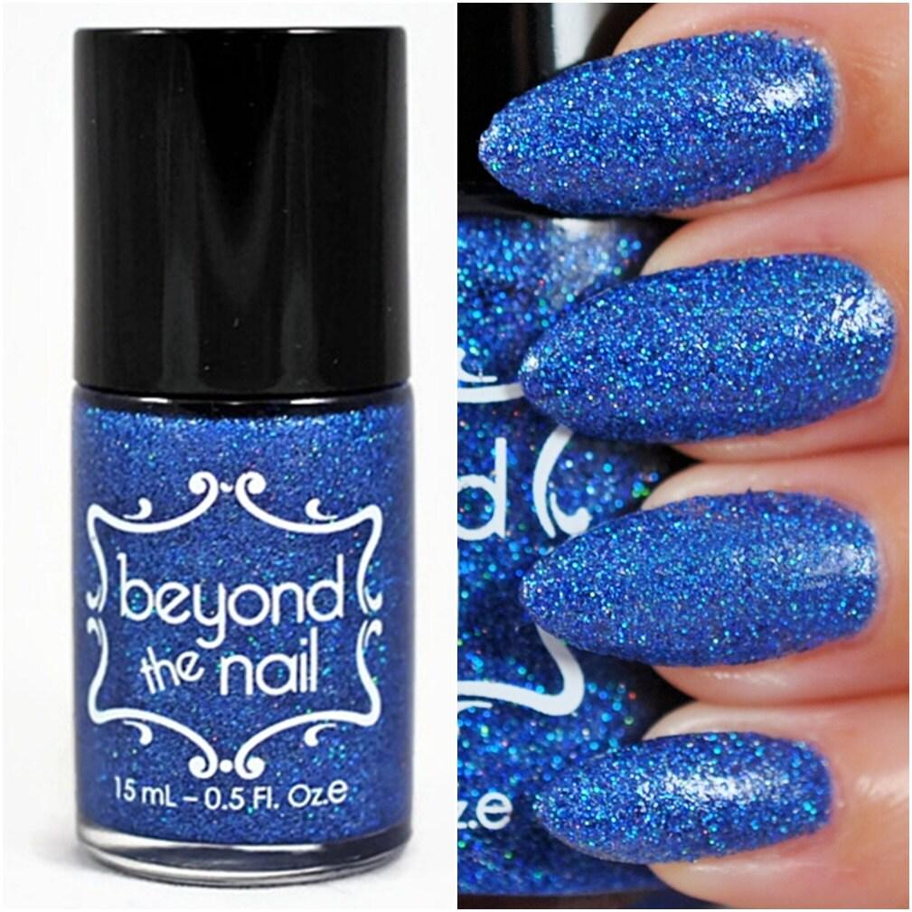 Holographic Blue Microglitter Nail Polish