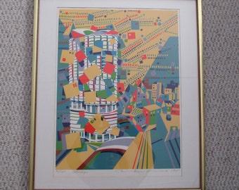 CHICAGO Rare Limited Edition SERIGRAPH by Listed Artist Risaburo KIMURA City Scape 1975