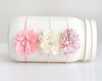 Set of 3 Chiffon Flower Headband, Photography Prop, Headband, Newborn Headband, Baby Headband,