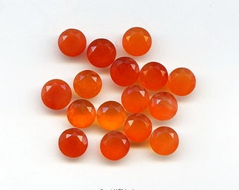 Natural 6 mm  Faceted Round Brilliant Carnelian For One