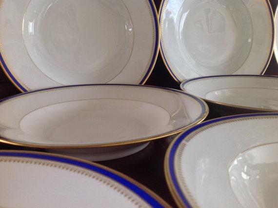 bernardaud limoges china set of 11 blue and gold rimmed soup. Black Bedroom Furniture Sets. Home Design Ideas