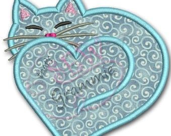 Kitty Heart Applique/Monogram Frame