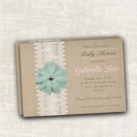 burlap and lace baby shower invitation