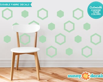 Hexagon Fabric Wall Decals  - Set of 16 Hexagon Decals - Custom Options Available - Honeycomb Pattern Wall Decor - Reusable, Repositionable