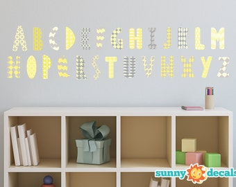 Modern Alphabet Fabric Wall Decals with Patterns in Yellow, Grey, and White, Repositionable and Reusable, ABC Decals by Sunny Decals