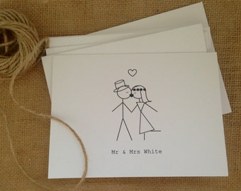 50 Wedding Thank you cards. Wedding invtations. Engagement cards. Save the date cards. Customised Mr & Mrs Kissing. White classic.