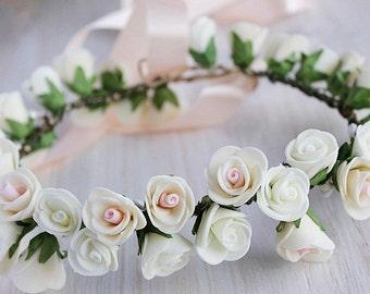 Ivory Rose Crown, Woodland Headband, Flower Girl Wreath, Toddler Crown, Flower Girl Halo, Rose Hair Wreath, Bridal Flower Crown, Boho Crown