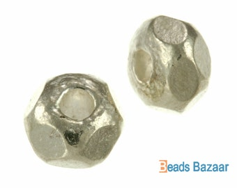 Karen Hill Tribe silver Faceted Plain Hexagon Spacer, 7 mm