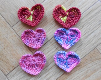 Crochet heart embellishments - Set of 6 assorted colors hand crocheted applique designs - Wedding decoration