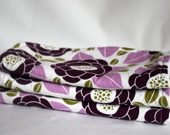 Floral Cotton Print with Purple, Green, White -  Burp Pads - Burp Cloths - Cotton and Soft Chenille - Baby, Shower Gift