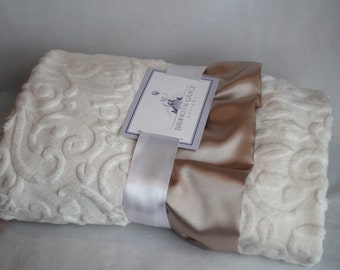 Embossed Vine Baby Blanket in Ivory with Champagne Satin Trim - Baby Girl, Crib Bedding, Infant and Toddler, Tan, Blue, White, Lavender