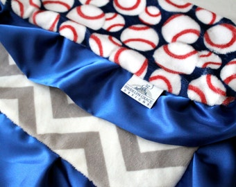 Adorable Baseball Print Mini Minky, Lovie Blanket in Red, White and Blue & Finished with a Cobalt Blue Satin Trim, Girls, Boys, Baby, Sports