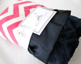 Berry Pink and Snow White Chevron with Solid Navy Embossed Chevron and Navy Ruffle Trim Minky Baby Blanket -  Nautical, Baby girl, Hot pink