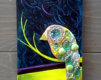 Mixed Media MOSAIC BIRD in Yellow, Blue, and Green